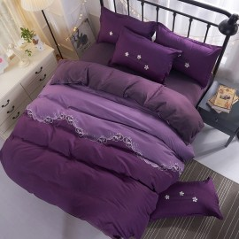 Aix Curvy Line Purple Bed Linen (XJJ17005)