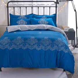 Aix Floral Pattern Blue Bed Linen (XJJ17007)