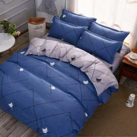 Aix Cat And Lines Blue Bed Linen (XJJ17015)