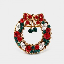 Seventy 6 Christmas Wreath Red Brooch (5953)