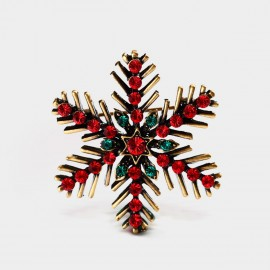 Seventy 6 Christmas Snowflake Red Brooch (5968)