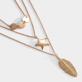 Seventy 6 Autumn Leaf Gold Long Chain (7595)