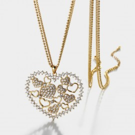Seventy 6 Full Heart Gold Long Chain (7622)