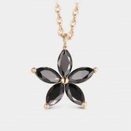 Seventy 6 Flower In Dark Gold Necklace (12374)