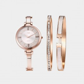 Seventy 6 Elegant Time Watch & Bracelets White Set (TB005)