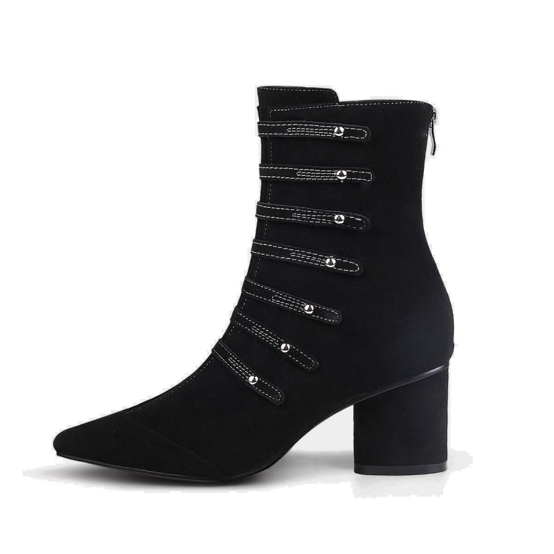 Jady Rose Straps And Metal Studs Suede Point Toe Chunky Heeled Rider Black Boots (17DR10319C)