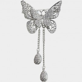 Caromay Extended Butterfly Wing Silver Brooch (T0234)