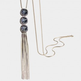 Caromay Crystal Button Tassle Blue Long Chain (X1706)