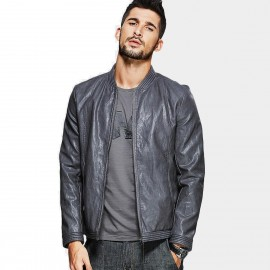 Kuegou Tough Grey Leather Jacket (UP-8919)