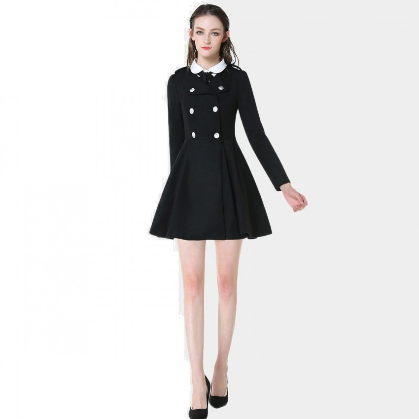Buy SSXR Classic Bottoned Black Dress online, shop SSXR with free shipping