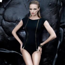 Balneaire Zipper Black One Piece (60587)