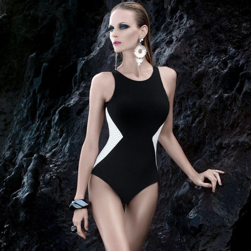 Balneaire Contrast Cut-Out Black One Piece (60595)