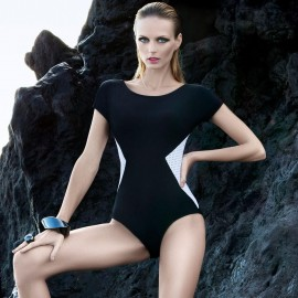 Balneaire Sleeved Contrast Black One Piece (60596)