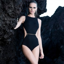 Balneaire Textured Zipper Black One Piece (60679)
