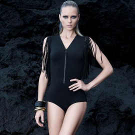 Balneaire V-Neck Tessel Black One Piece (60681)
