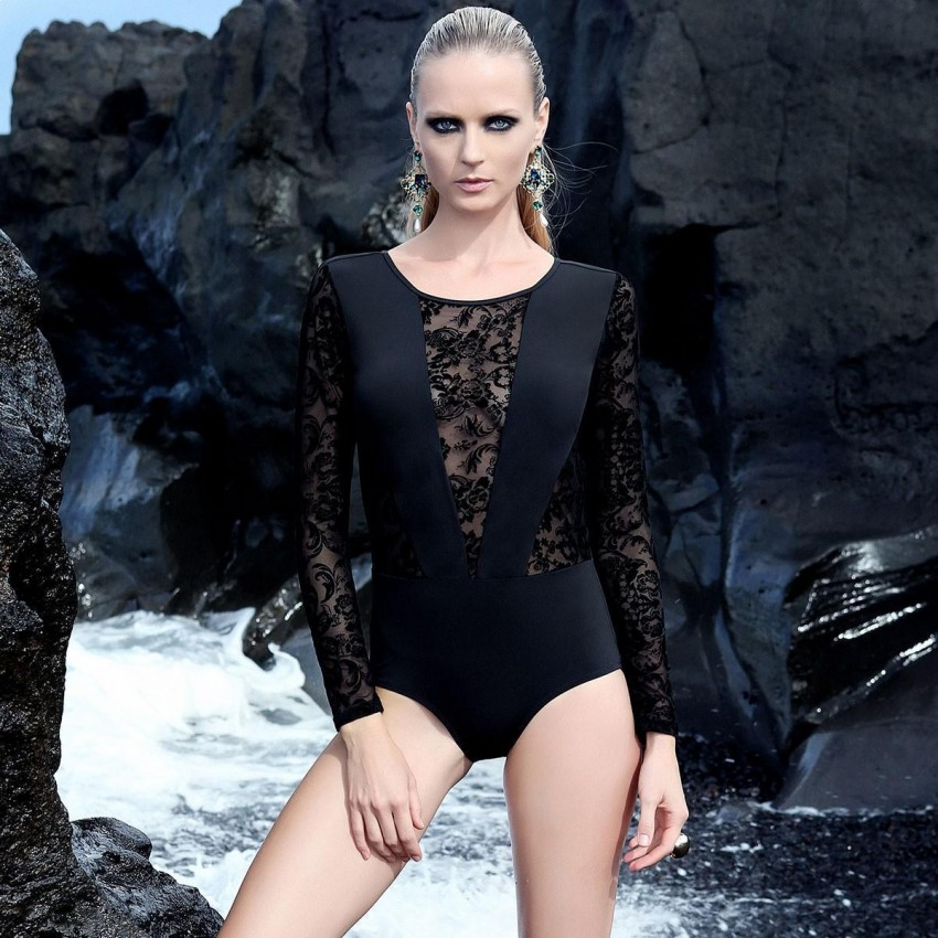 Balneaire Long-Sleeved Deep-V Lace Black One Piece (60689)