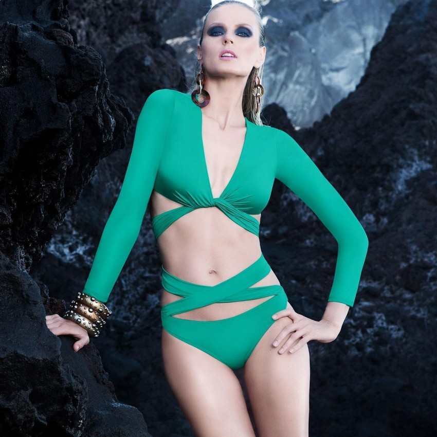 Balneaire Long-Sleeved Cross-Body Green Bikini (83167)