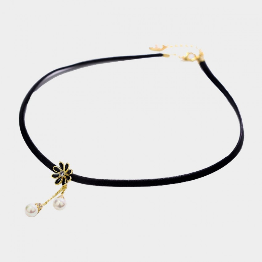Caromay Little Daisy Black Choker Necklace (X1967)