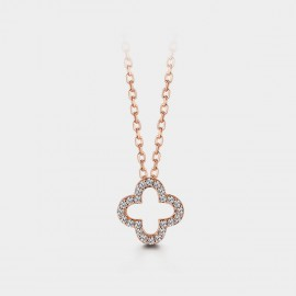Seventy 6 Blessing Clover Rose Gold Necklace (B2566)
