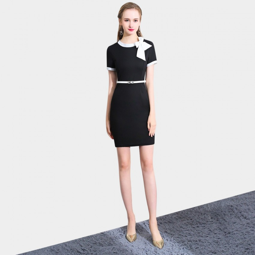 Buy SSXR White Ribbon Black Dress online, shop SSXR with free shipping