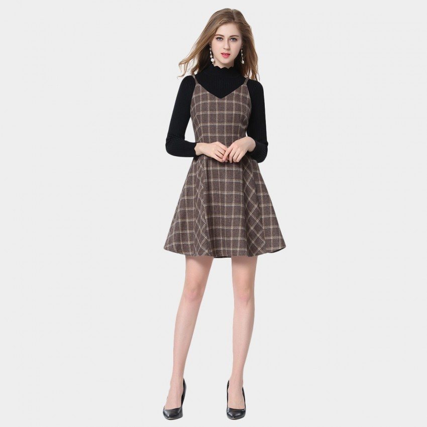 Buy SSXR Square Pattern Coffee Dress online, shop SSXR with free shipping