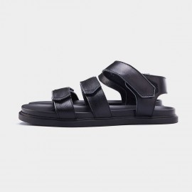 Herilios Triple Magic Tape Leather Strap Black Sandals (H7105L22)