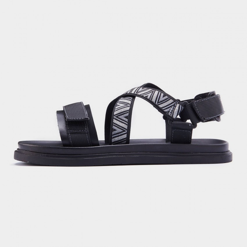 Herilios Contrast Embroidery Magic Tape Strap Black Sandals (H7105L24)