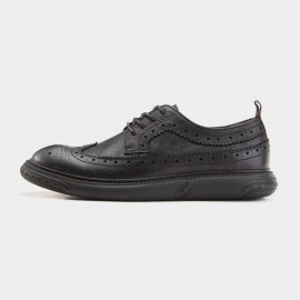 Herilios Patterned Monochrome Oxford Black Lace Ups (H7305D20)