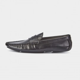 Herilios Pleated Monochrome Penny Black Loafers (H7305D27)