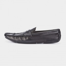 Herilios Eyelets Pleated Monochrome Penny Black Loafers (H7305D29)