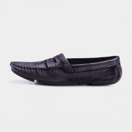 Herilios Cross Stitch Pleated Monochrome Penny Black Loafers (H7305D31)