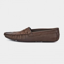 Herilios Cross Stitch Pleated Monochrome Penny Brown Loafers (H7305D31)