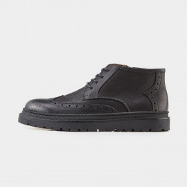 Herilios Eyelets Brogues Zipper Ankle Black Boots (H7305G29)