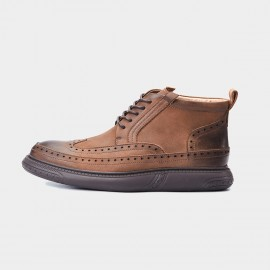 Herilios Circle Eyelets Brogues Cushion Ankle Brown Boots (H7305G31)