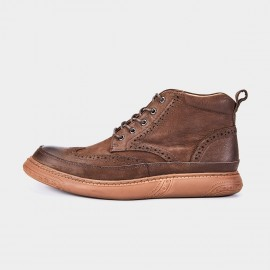 Herilios Bubble Eyelets Brogues Cushion Ankle Brown Boots (H7305G33)