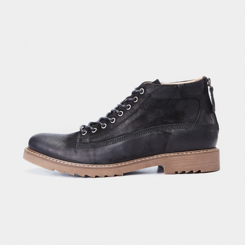 Herilios Just Leather Contrast Eyelets Zipper Ankle Black Boots (H7305G35)