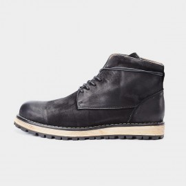Herilios Tinted Simplicity Vintage Ankle Black Boots (H7305G37)