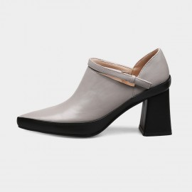 Jady Rose Patchwork Monochrome Strap Chunky Grey Boots (18DR10508)