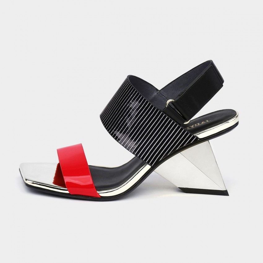 Jady Rose Cavier Leather Diagonal Heel Slingback Red Sandals (18DR10532)