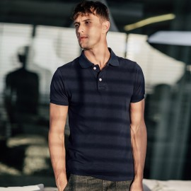 Kuegou Plain Color Contrasting Button Navy Polo Shirt (ZT-593)