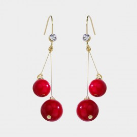 Caromay Dangle Ball Red Earrings (E3432)