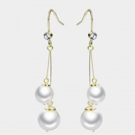 Caromay Dangle Ball White Earrings (E3432)