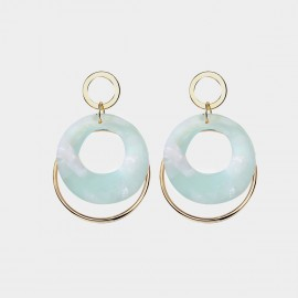 Caromay Time Circle Green Earrings (E3514)