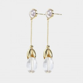 Caromay Oval Bead Dangle Gold Earrings (E3521)