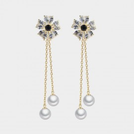 Caromay Sky Flower Black Earrings (E3530)