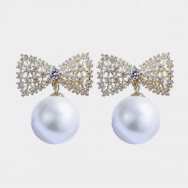 Caromay Pearl Net Bow White Earrings (E3546)