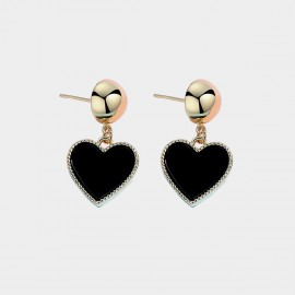 Caromay Modern Heart Black Earrings (E3547)