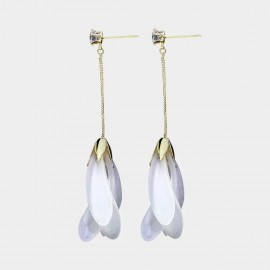 Caromay Flower Drop White Earrings (E3571)