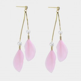 Caromay Feather Tassel Pink Earrings (E3581)