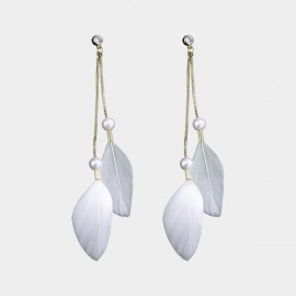 Caromay Feather Tassel White Earrings (E3581)